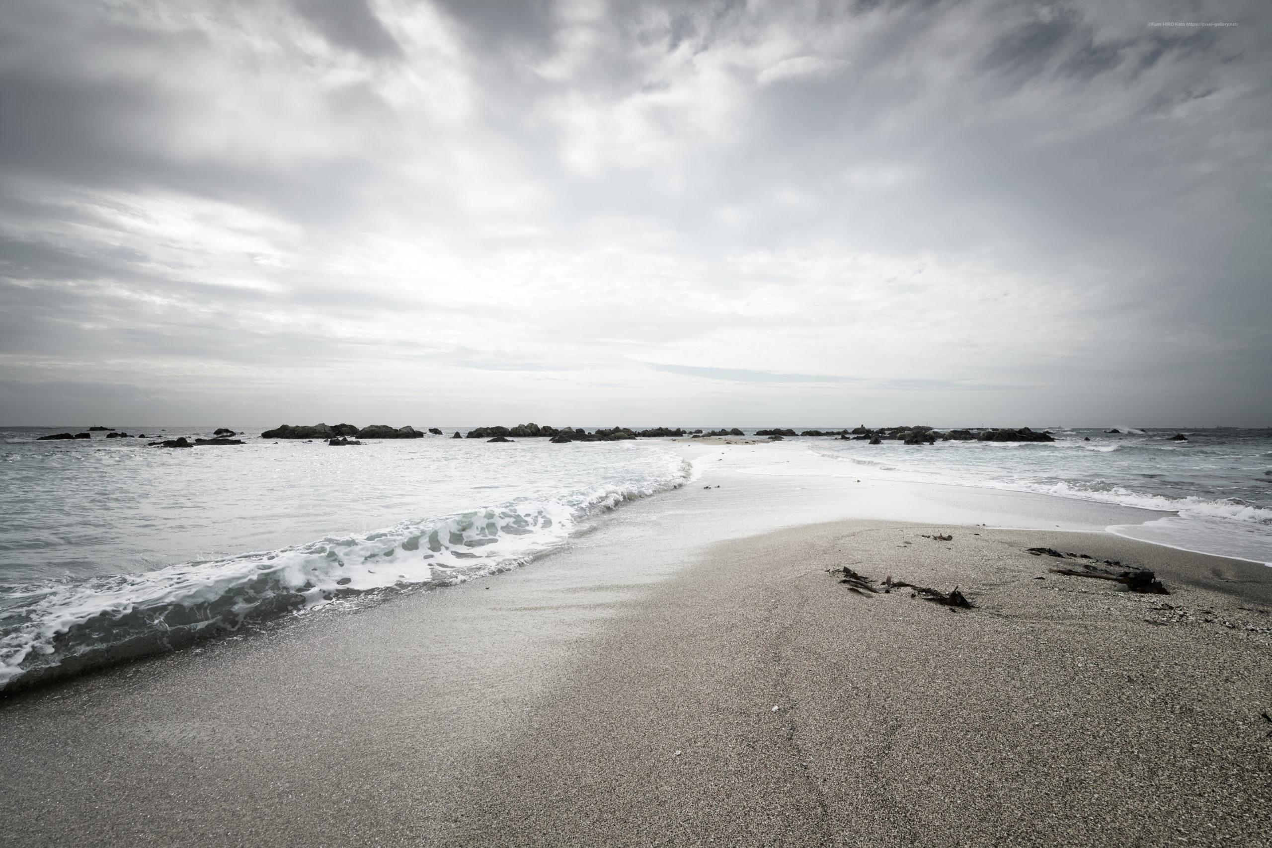 海景 20-024 砂州、向き合う波
